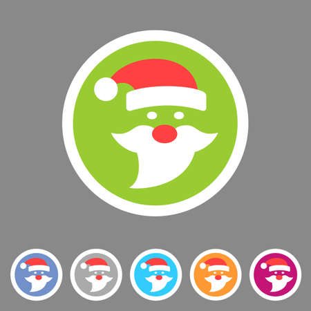 Flat Santa Claus christmas icon Vector