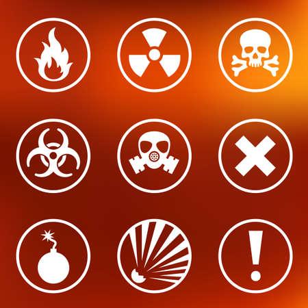 gas mask warning sign: Flat warning signs labels