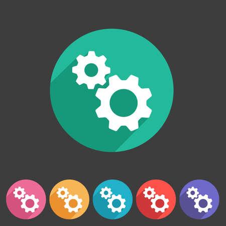 Gear settings flat icon Illustration