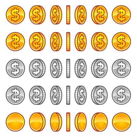 Dollar coins rotation Imagens - 34326394