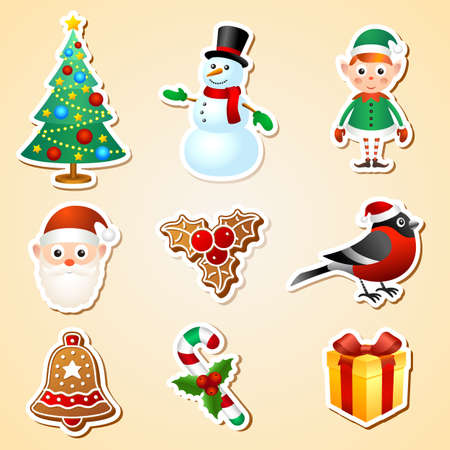 Christmas symbol sticker set Vector