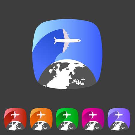 tourismus icon: Airplane travel welt, kugel, Tourismus-Symbol