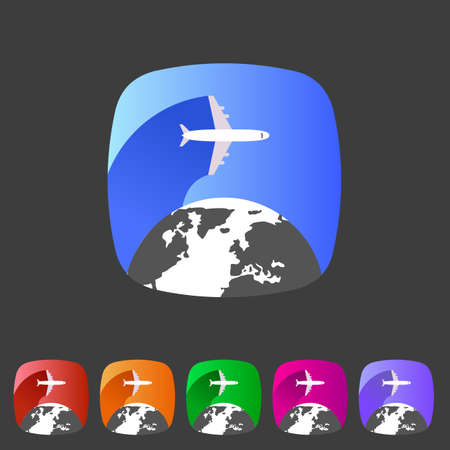 Airplane travel world, globe, tourism icon Vector
