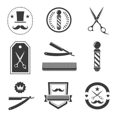 Friseur, Etiketten, Abzeichen vintage Standard-Bild - 35243994