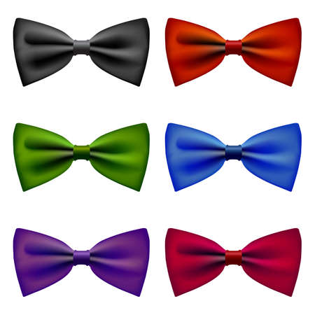 blue bow: Bow tie colors vintage set Illustration