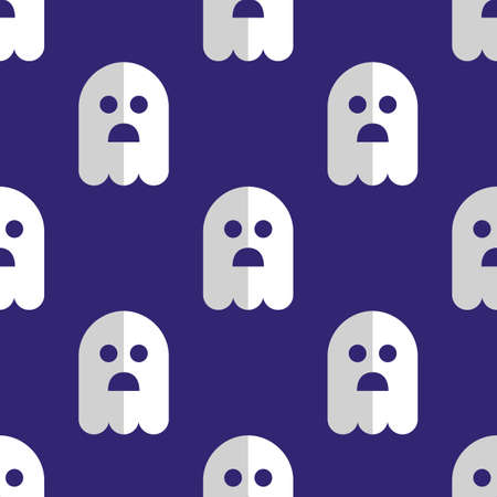 grimace: Seamless pattern white ghosts halloween background Illustration