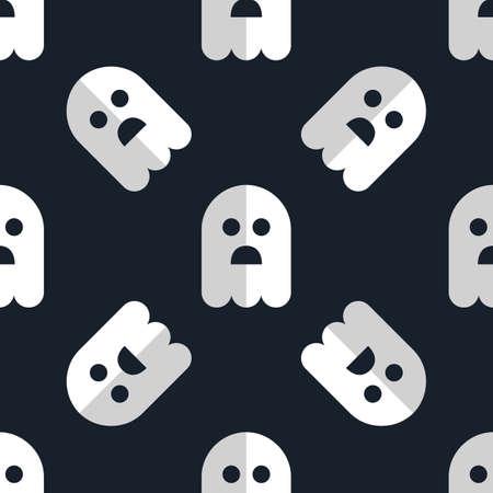 myst: Seamless pattern white ghosts halloween background Illustration