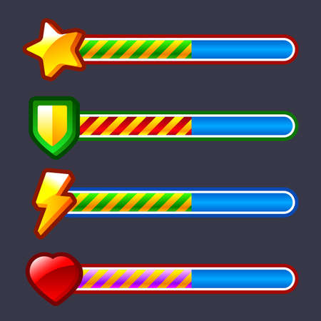 Energy progress, loading game bar set Vettoriali
