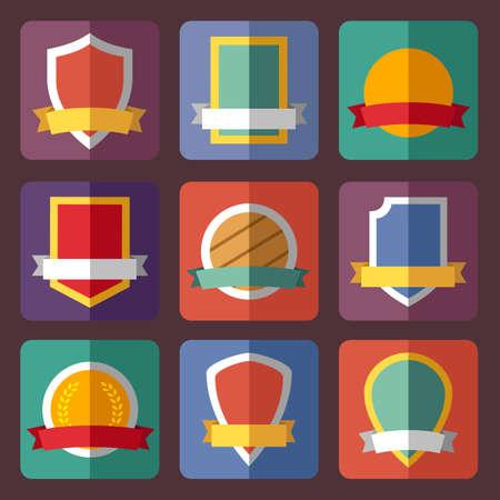 shield set: Vector coats of arms, shields, ribbons, flat