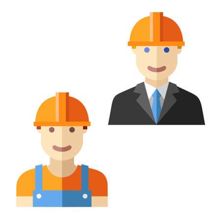 engineer worker flat avatar set Ilustração