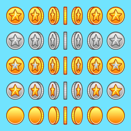 gold star: Star gold silver coins rotation set