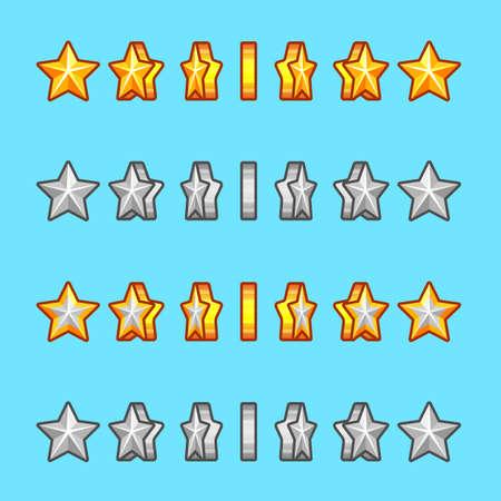 sprite: Estrella rotaci�n plata juego conjunto de sprites oro