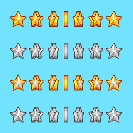 sprite: Star gold silver rotation set sprite game Illustration