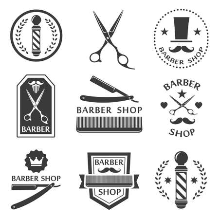 barbero: Barberia logotipo, etiquetas, escudos de �poca Vectores