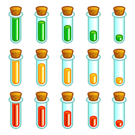 test tubes: Glass test tubes game progress bar Illustration