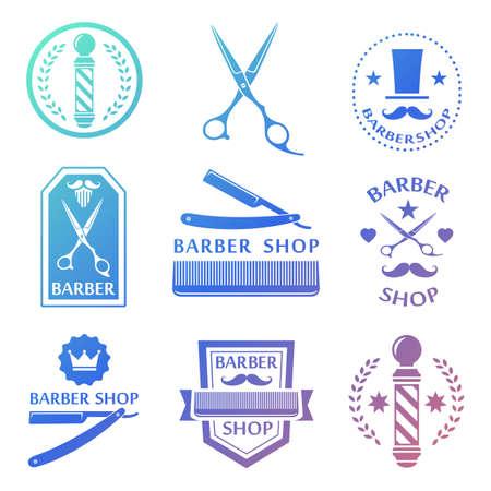 barber scissors: Barber shop , labels, badges vintage