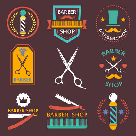 barber: Barber shop , labels, badges vintage