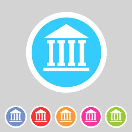 governmental: escuela, universidad, academia icono plana set signo Vectores