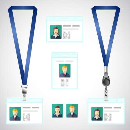 lanyard: Cuerda de seguridad, tarjeta de identificaci�n etiqueta final titular, id, plantilla Vectores