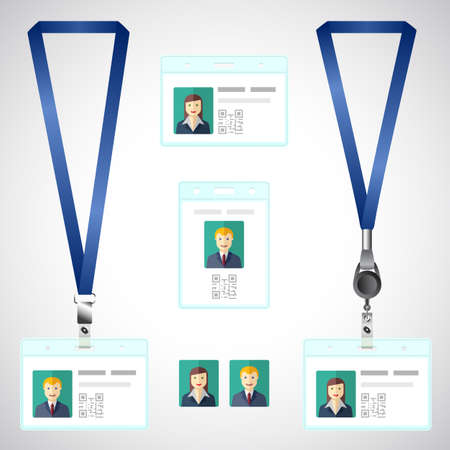 holder: Lanyard, name tag holder end badge, id, template