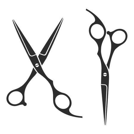 hair style collection: Vintage barber shop scissors, logo, label, badge
