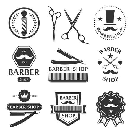 antique shop: Barber shop logo, labels, badges vintage