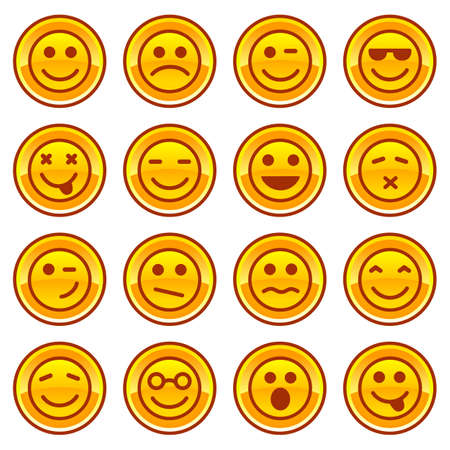 smiley face cartoon: Smiley iconos monedas de oro, conjunto signos s�mbolo