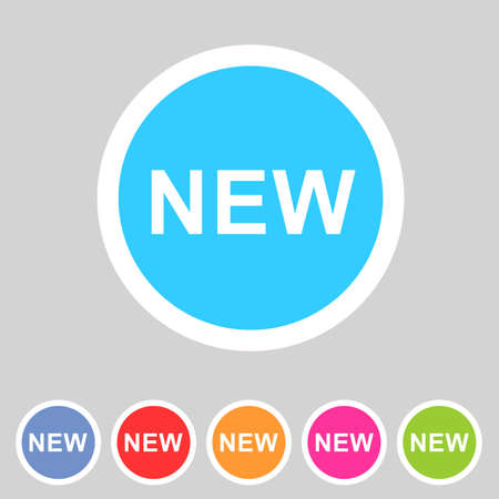 New badge flat icon sign set symbol