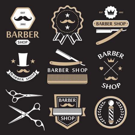 Barber shop logo Etiketten Abzeichen vintage vector Standard-Bild - 37458177