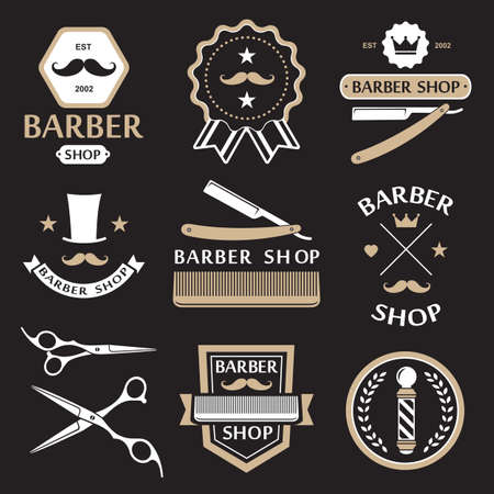 scissors comb: Barber shop logo labels badges vintage vector