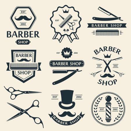 Barber shop logo Etiketten Abzeichen vintage vector