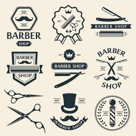 barbero: Peluquer�a etiquetas tienda insignia insignias vector vintage