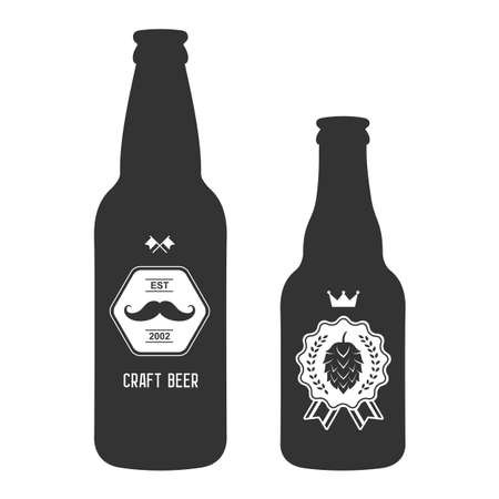 beer label design: set of vintage craft beer bottles brewery badges