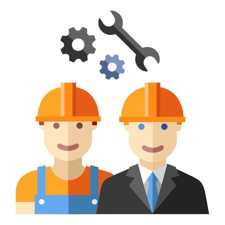 Bauarbeiter flache avatar Satz Standard-Bild - 37637658