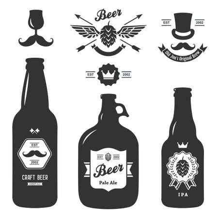 botellas de cerveza: conjunto de artesan�a vendimia insignias botellas de cerveza cervecer�a