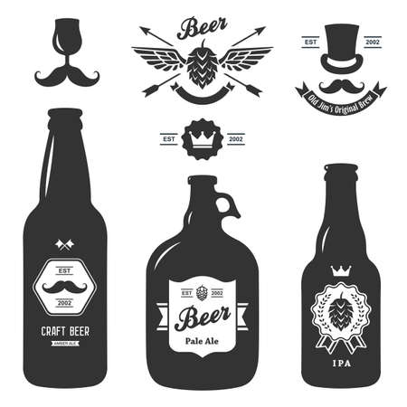 set of vintage craft beer bottles brewery badges Imagens - 38200876
