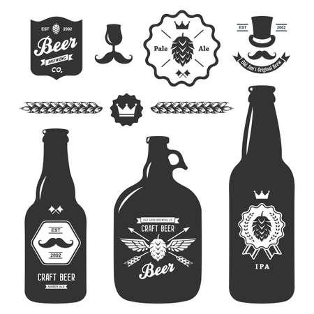 řemeslo: Sada vintage řemeslných pivní láhve pivovar odznaky Ilustrace