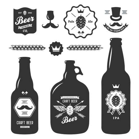 set of vintage craft beer bottles brewery badges