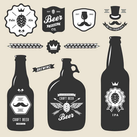 craft background: set of vintage craft beer bottles brewery badges