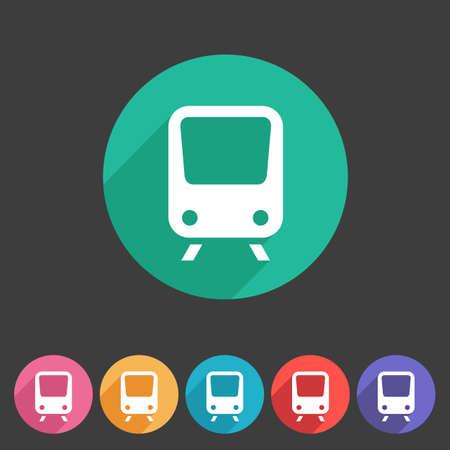 high speed rail: Train travel railway flat icon badge