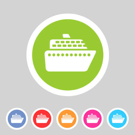 ferry boat: ship ferry boat flat icon badge set Illustration