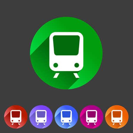 high speed rail: Train travel railway flat icon badge logo set Illustration