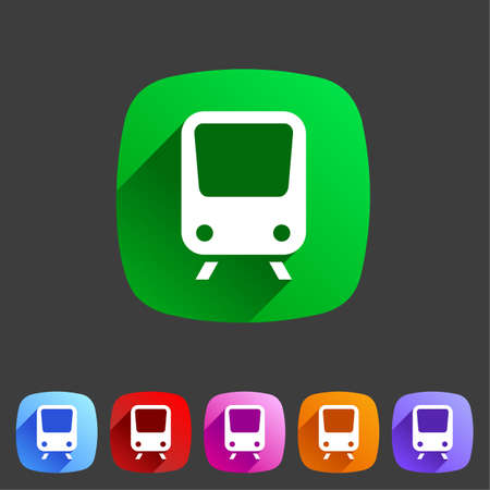 high speed railway: Train travel railway flat icon badge Illustration