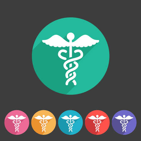 caduceus medical symbol: health medicine pharmacy icon badge flat symbol