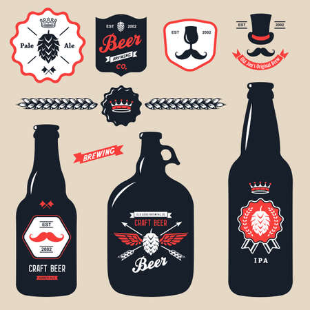 craft: set of vintage craft beer bottles brewery badges