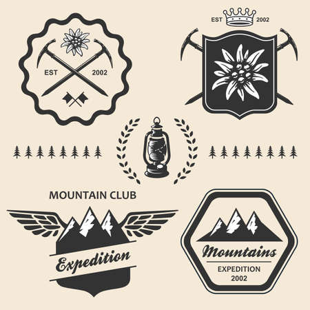 primus: Mountain hiking outdoor symbol emblem label collection