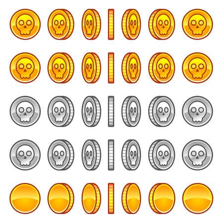 Skull coins rotation animation sprites Illustration