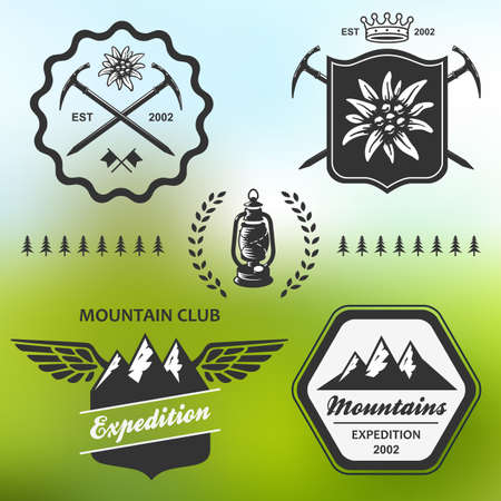 Mountain hiking outdoor symbol emblem label collection