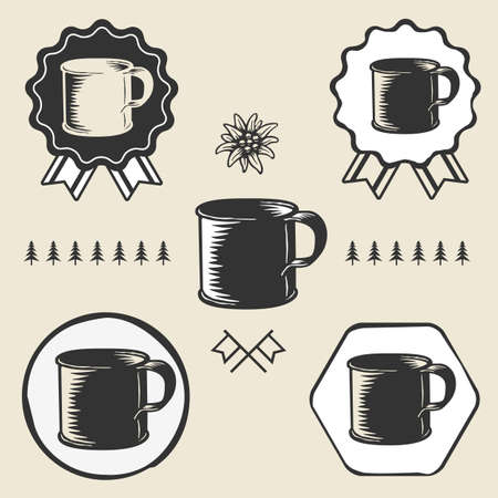 enamel: vintage steel enamel cup outdoor symbol emblem label Illustration