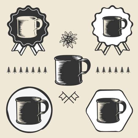enamel: vintage steel enamel cup outdoor symbol emblem label Illustration